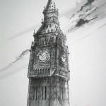 ビッグベン 倫敦 60×35cm  極く素直に描いた作品です。 ネオゴシックの美しい塔 雲とサインで、動きをだしました。