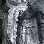 バチカンの天蓋  148×84cm  思い切り仰角にして、ドームの大きさと高さをだしました。
