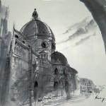 フィレンツエ ドウオモ  44×56cm  ルネッサンスの円弧を強調した作品。
