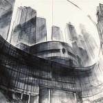 東京マンハッタン 85×170cm  新宿都庁舎の中央広場から見えるビル群 なるべくシャープに溝引きの線を使いました。
