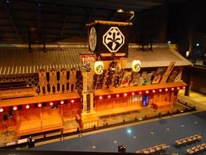 日本橋から見下ろす江戸ゾーンの歌舞伎小屋